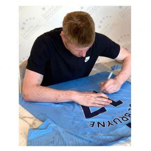 Kevin De Bruyne Signed Manchester City 2018-19 Shirt. Deluxe Frame