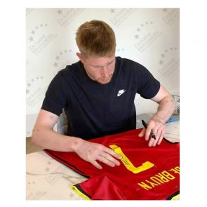Kevin De Bruyne Signed Belgium Shirt. Deluxe Frame