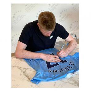 Kevin De Bruyne Signed Manchester City Shirt. 2020-21. Damaged Stock A