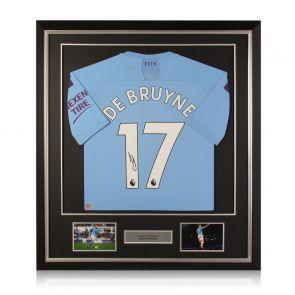 Kevin De Bruyne Signed Manchester City 2019-20 Shirt. Deluxe Frame