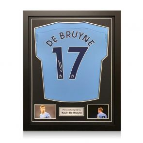 Kevin De Bruyne Signed Manchester City Shirt. 2020-21. Framed