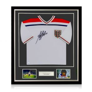 Kevin Keegan Signed 1982 England Shirt. Deluxe Frame