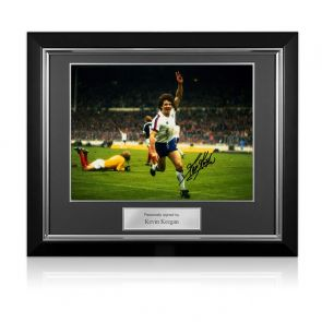 Kevin Keegan Signed England Football Photo. Deluxe Frame