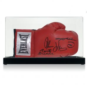 Leonard, Hearns and Duran triple signed glove
