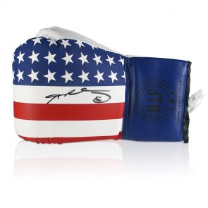 Sugar Ray Leonard Signed Stars And Stripes Boxing Glove In Display Case
