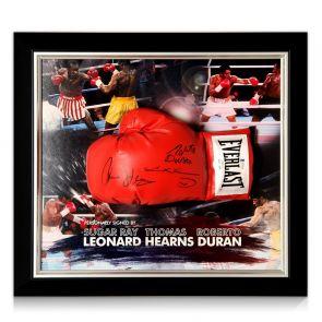 Sugar Ray Leonard, Thomas Hearns And Roberto Duran Signed Boxing Glove. Framed