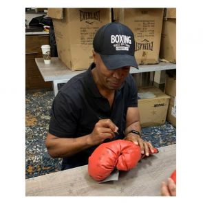 Sugar Ray Leonard And Roberto Duran Signed Red Boxing Glove. In Gift Box
