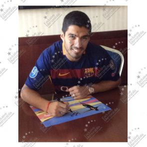 Luis Suarez Signed Photo: Champions League Final Goal. In Deluxe Black Frame With Silver Inlay