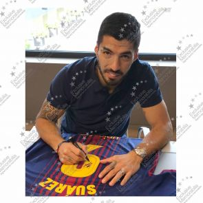 Smudged Stock - Luis Suarez Signed Barcelona 2017-18 Football Shirt
