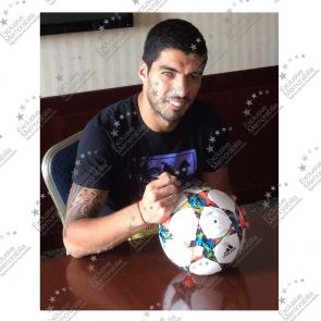 Luis Suarez Signed 2015 Champions League Football In Display Case