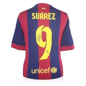Luis Suarez signed treble shirt