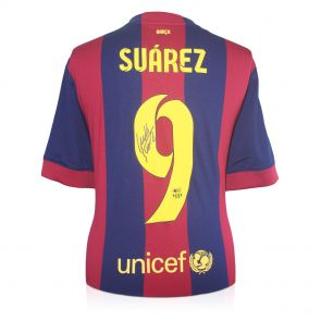 Framed Luis Suarez Signed Barcelona 2014-15 Football Shirt