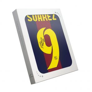 Luis Suarez signed treble shirt in gift box