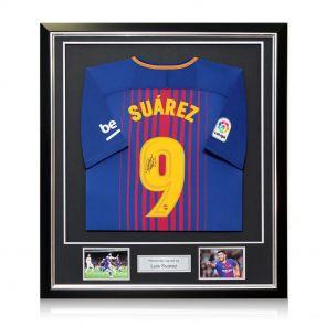 Luis Suarez Signed Framed Barcelona Football Shirt