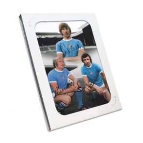 Signed Bell, Lee, Summerbee Photo In Gift Box