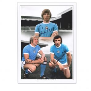 Manchester City Photograph Signed by Colin Bell, Francis Lee And Mike Summerbee. In Gift Box