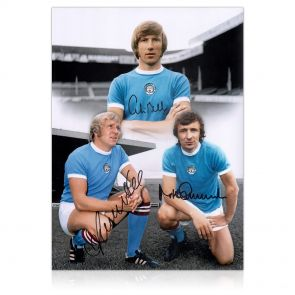 Manchester City Photograph Signed by Colin Bell, Francis Lee And Mike Summerbee In Gift Box
