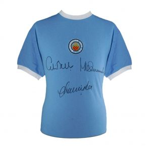 Framed Manchester City Shirt Signed By Colin Bell, Francis Lee And Mike Summerbee