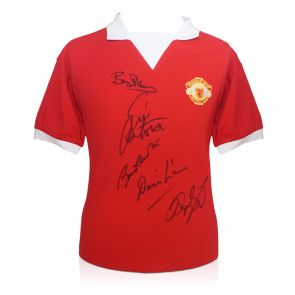 Manchester United Shirt Signed By Charlton, Cantona, Law, Robson and Giggs. In Deluxe Black Frame With Gold Inlay