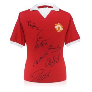 Manchester United Shirt Signed By Cristiano Ronaldo, Charlton, Cantona, Law, Robson and Giggs. In Gift Box