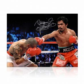 Manny Pacquiao Signed Boxing Photo: Victory Over Cotto. In Deluxe Black Frame With Silver Inlay