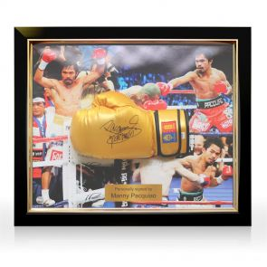 Framed Manny Pacquiao Autographed Boxing Glove