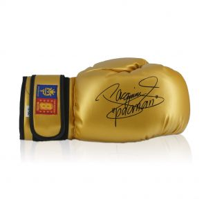Gold Boxing Glove Signed By Manny Pacquiao In Deluxe Black Frame With Gold Inlay