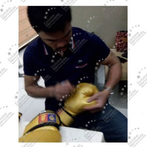 Manny Pacquiao Signed Gold Boxing Glove. In Display Case