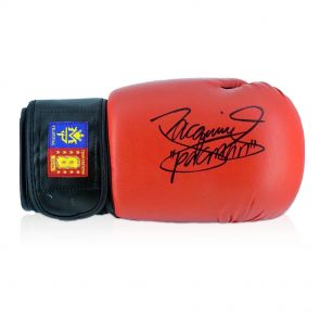 Red Boxing Glove Signed By Manny Pacquiao In Display Case