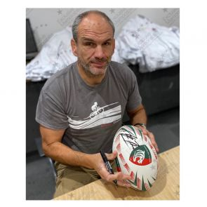Martin Johnson Signed Leicester Tigers Rugby Ball. In Display Case