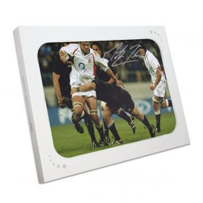 Martin Johnson Signed Rugby Photo: vs New Zealand. In Gift Box