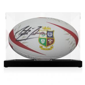 Martin Johnson Signed British And Irish Lions Rugby Ball. In Display Case