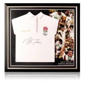 Martin Johnson Signed England Rugby Shirt. Premium Frame