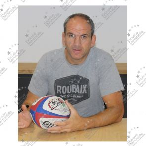 Martin Johnson Signed England Rugby Ball In Display Case