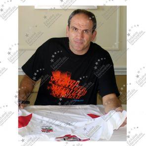 Martin Johnson Signed England Rugby Shirt - Damaged Stock G