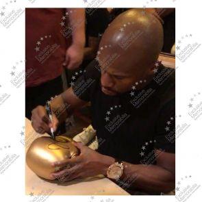 Floyd Mayweather Signed Gold TMT Boxing Glove