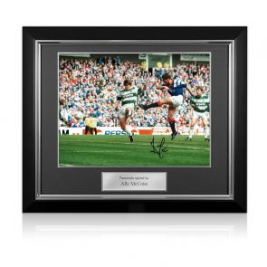 Ally McCoist Signed Rangers Photo: Old Firm Derby. Deluxe Framed