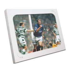 Ally McCoist Signed Rangers Photo: Goal Against Celtic In Gift Box