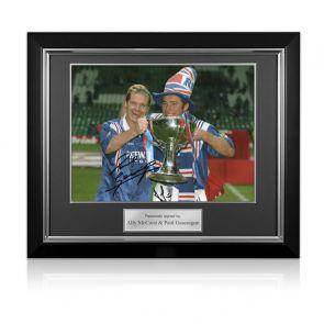 Paul Gascoigne And Ally McCoist Signed Rangers Photo. Deluxe Frame