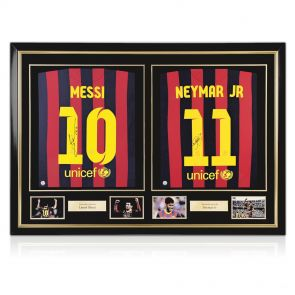 Dual Framed Lionel Messi And Neymar Jr Signed Barcelona Football Shirts