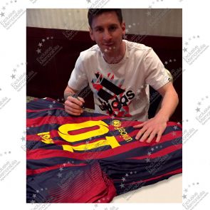 Deluxe Framed Lionel Messi Signed 2013-14 Barcelona Football Shirt (Silver Inlay)