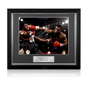Mike Tyson Signed Boxing Photo: Becoming World Champion. Deluxe Frame