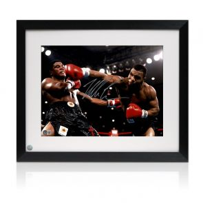 Mike Tyson Signed Boxing Photo: Becoming World Champion. Framed
