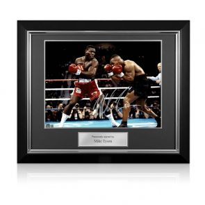 Mike Tyson Signed Boxing Photo: Tyson Vs Bruno. Deluxe Frame