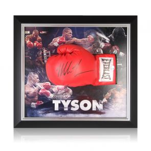 Mike Tyson Signed Red Boxing Glove. Framed