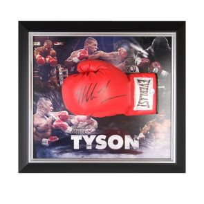 Mike Tyson Signed Red Boxing Glove Framed