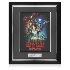 Millie Bobby Brown Signed Stranger Things Poster. Deluxe Frame