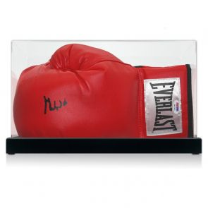 Muhammad Ali Signed Boxing Glove (PSA DNA 6A07662). In Display Case