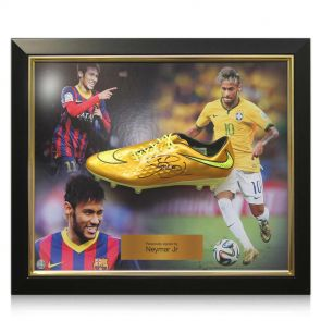 Signed and framed Neymar gold boot