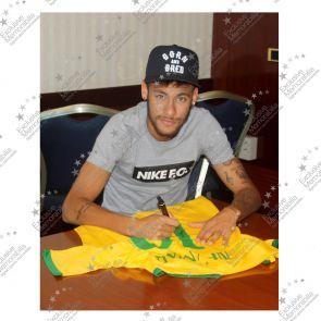 Signed and Framed Neymar Jr Brazil Football Shirt